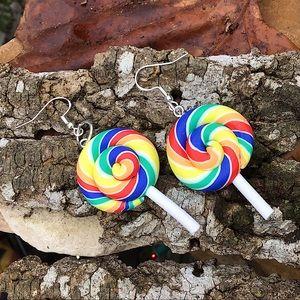 Rainbow lollipop earrings candy 925 silver artisan